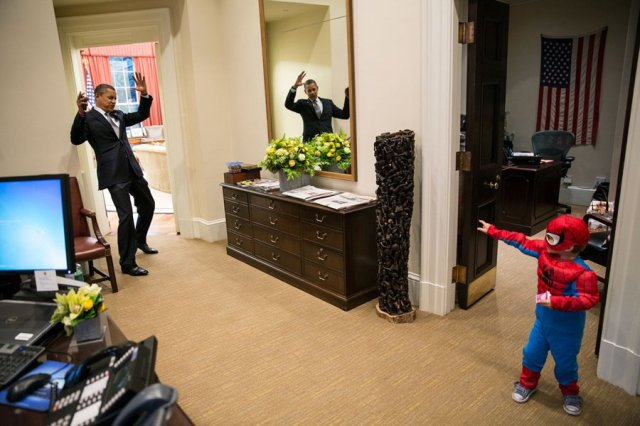 President busted by Spiderman!